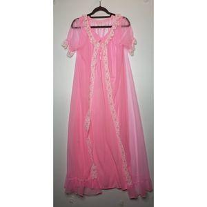 VTG 60's Peignoir Nightgown Sheer Robe Set